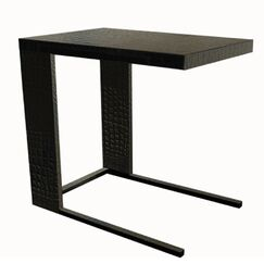 Leather End Table Color: Hair-on-Hide Black & White