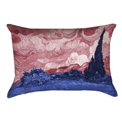 Lapine Wheatfield with Cypresses Pillow Cover Color: Red/Blue