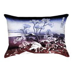 Clair Japanese Cherry Trees Cotton Lumbar Pillow Color: Blue/Red