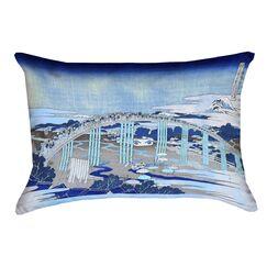 Enya Japanese Bridge 100% Cotton Pillow Cover Color: Blue