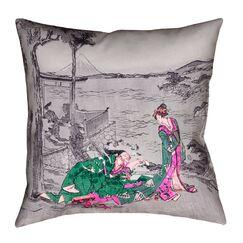 Enya Japanese Courtesan Floor Pillow Color: Green, Size: 36