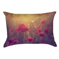 Mariani Butterfly and Rose Rectangular 100% Cotton Pillow Cover Color: Red/Yellow