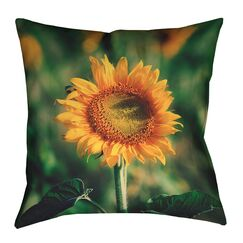 Holst Sunflower Faux Suede Throw Pillow Size: 20