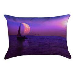 Jada Magenta Moon and Sailboat Cotton Lumbar Pillow