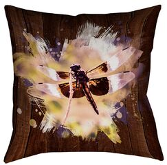 Hansard Watercolor Dragonfly Square Pillow Cover Size: 14