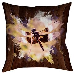 Hansard Watercolor Dragonfly Zipper Square Throw Pillow Size: 16