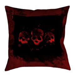 Spooky Watercolor Skulls Square Indoor Throw Pillow Size: 18