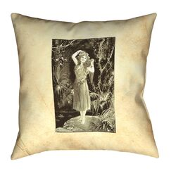 Aridas Vintage Forest Girl Square Pillow Size: 20