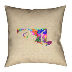 Austrinus Maryland Love Watercolor Throw Pillow Size: 18