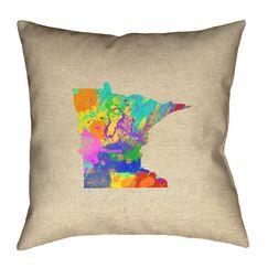 Austrinus Minnesota Watercolor Throw Pillow Size: 14