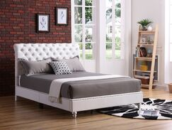 Loc Tufted Upholstered Panel Bed Size: Full/Double, Color: White