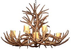 Attwood Antler Mule Deer Inverted Oblong 8-Light We have associated to option Chandelier Shade Color: No, Shade Included: No, Finish: Rustic Bronze/Brown