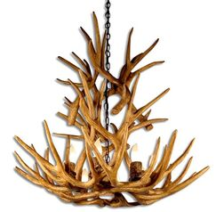 Attwood Antler Mule Deer Cascade 9-Light We have associated to option Chandelier Shade Included: No, Shade Color: Parchment, Finish: Rustic Bronze/Brown