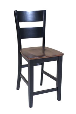 Dinsmore Curved Back Solid Wood Dining Chair Color: Cherry/Black, Set Of: Set of 2