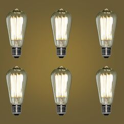 E26 Dimmable LED Edison Light Bulb Wattage: 8W, Pack Size: 6