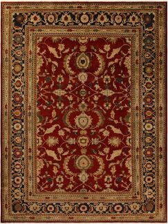 Xenos Oriental Hand-Knotted Wool Red/Blue Area Rug