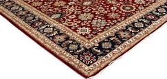 Badham Hand-Knotted Rectangle Wool Red/Blue Area Rug