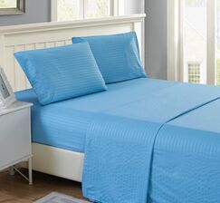 Ratzlaff Stripe Microfiber Sheet Set Color: Blue, Size: King