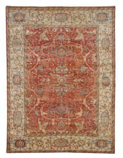 Serapi Hand-Knotted Wool Red/Beige Area Rug Rug Size: Rectangle 10' x 14'