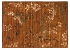 Super Tibetan Hand Knotted Wool/Silk Teracotta Area Rug Rug Size: Square 8'