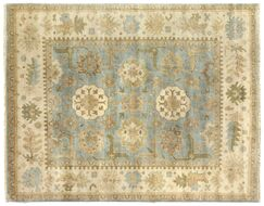 Oushak Hand-Knotted Wool Beige/Blue Area Rug Rug Size: Rectangle6' x 9'