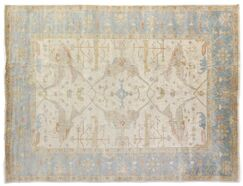 Oushak Hand-Knotted Wool Ivory/Blue Area Rug Rug Size: Rectangle 4' x 6'