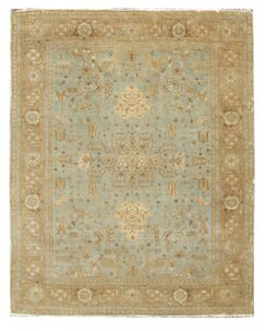 Fine Serapi Hand-Knotted Wool Light Blue/Beige Area Rug Rug Size: Rectangle 10' x 14'