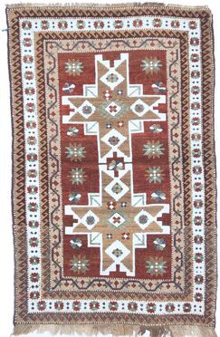One-of-a-Kind Turkish Fine Kars Hand-Woven Wool Brown/Ivory Area Rug
