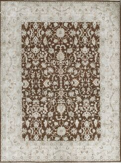 One-of-a-Kind Ziegler Hand-Knotted Wool Brown/White Indoor Area Rug