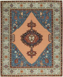 One-of-a-Kind Ziegler Handwoven Wool Peach/Blue Indoor Area Rug
