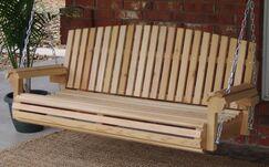 Hilyard Fan Back Cedar Porch Swing Finish: Stained/Regular , Size: 25