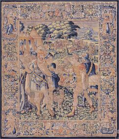 One-of-a-Kind Antique Brussels Historical Tapestry Handwoven Wool/Silk Beige/Blue Indoor Area Rug