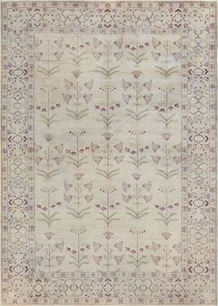 One-of-a-Kind Genuine Handwoven Wool Ivory Indoor Area Rug