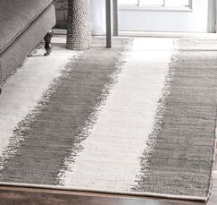 Yarbro Hand Loomed Cotton Gray/Off-White Area Rug Rug Size: Rectangle 7'6