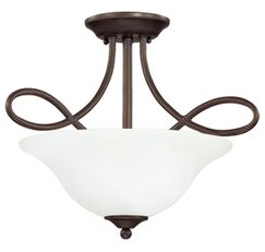 Ellis 3-Light Semi Flush Mount Finish: Oiled Bronze with White Frosted Glass