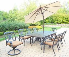 Vanguard 9 Piece Dining Set with Cushions Umbrella Color: Beige, Cushion Color: Sunbrella Spunpoly
