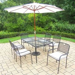 Charleston 7 Piece Dining Set with Cushions Umbrella Color: White