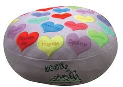 Round Hearts Dog Pillow Size: Large (38