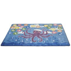 Olive the Octopus Blue Area Rug Rug Size: 9' x 12'