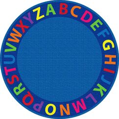 A-Z Circle Time Seating Blue Area Rug Size: Round 12'