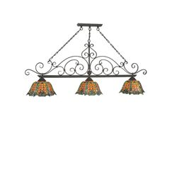 Duffner Kimberly Shell and Diamond 3-Light Pool Table Lights Pendant