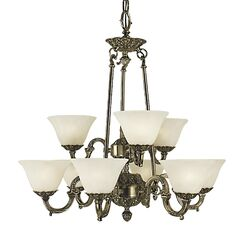 Napoleonic 9-Light Shaded Chandelier Shade Color: Champagne, Color: French Brass