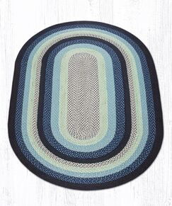 Blueberry/Creme Braided Area Rug Rug Size: Oval 5' x 8'