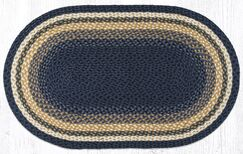 Light Blue/Dark Blue/Mustard Braided Area Rug Rug Size: Oval 2'3