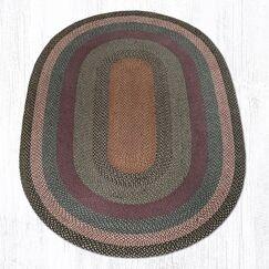 Burgundy/Blue/Gray Braided Area Rug Rug Size: Oval 6' x 9'