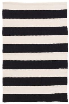 Catamaran Stripe Black/Off-White Indoor/Outdoor Area Rug Rug Size: Runner 2'6
