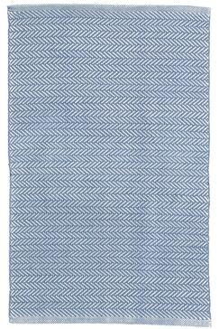 Herringbone Denim Blue Indoor/Outdoor Area Rug Rug Size: Runner 2'6