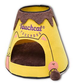Touchcat Molten Lava Designer Triangular Cat Pet Kitty Bed House With Toy Color: Yellow/Brown