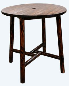 Char-Log Round Wooden Bar Table