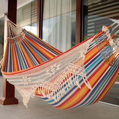 Double Person Fair Trade Portable Festive Striped Hand-Woven Brazilian Cotton with Crocheted Florid Draping Indoor And Outdoor Hammock